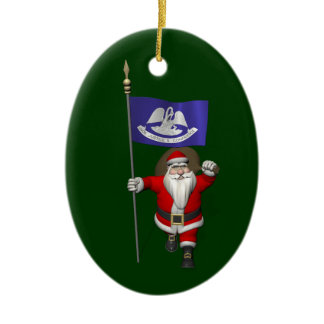 Santa Claus With Ensign Of  Louisiana Ceramic Ornament