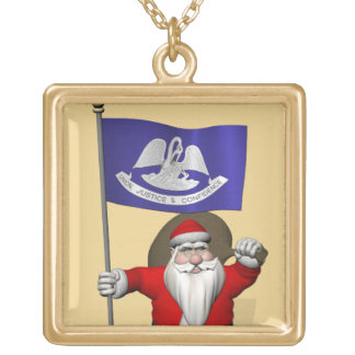 Santa Claus With Ensign Of  Louisiana Gold Plated Necklace