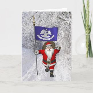 Santa Claus With Ensign Of  Louisiana Holiday Card