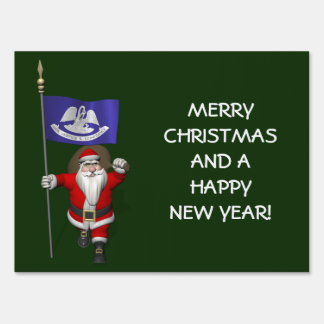 Santa Claus With Ensign Of  Louisiana Lawn Sign