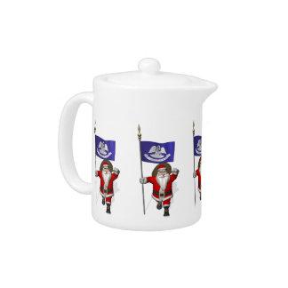 Santa Claus With Ensign Of  Louisiana Teapot