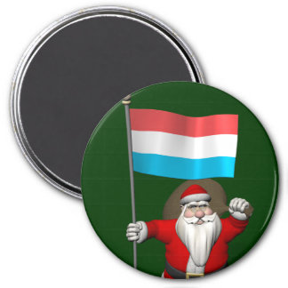 Santa Claus With Ensign Of Luxembourg 3 Inch Round Magnet