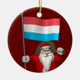 Santa Claus With Ensign Of Luxembourg Ceramic Ornament
