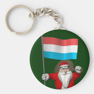 Santa Claus With Ensign Of Luxembourg Keychain