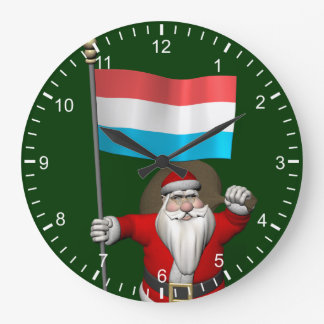 Santa Claus With Ensign Of Luxembourg Large Clock