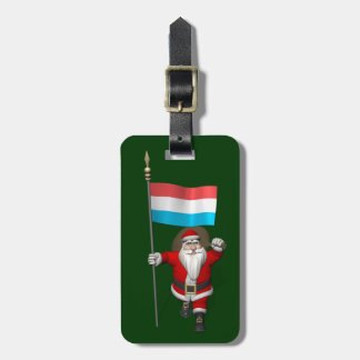 Santa Claus With Ensign Of Luxembourg Luggage Tag