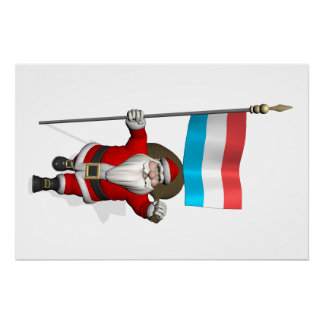 Santa Claus With Ensign Of Luxembourg Poster