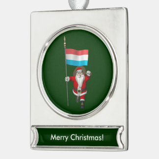Santa Claus With Ensign Of Luxembourg Silver Plated Banner Ornament