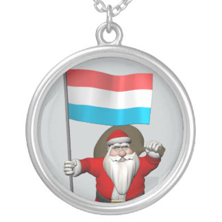 Santa Claus With Ensign Of Luxembourg Silver Plated Necklace