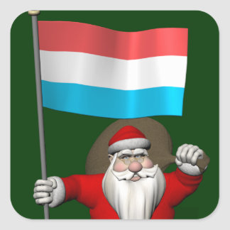 Santa Claus With Ensign Of Luxembourg Square Stickers