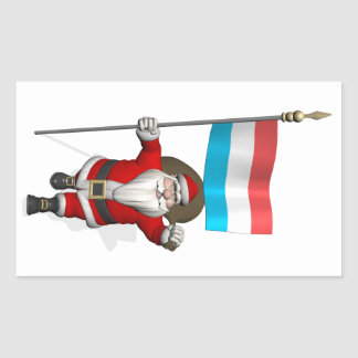 Santa Claus With Ensign Of Luxembourg Rectangle Stickers
