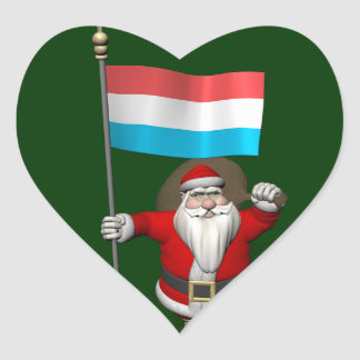 Santa Claus With Ensign Of Luxembourg Stickers