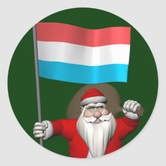 Santa Claus With Ensign Of Luxembourg Round Stickers