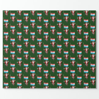 Santa Claus With Ensign Of Luxembourg Wrapping Paper
