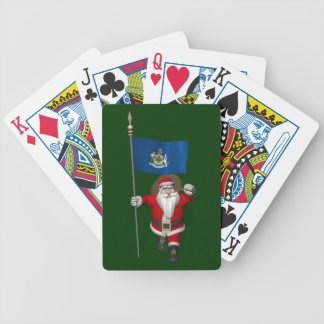 Santa Claus With Ensign Of Maine Bicycle Playing Cards