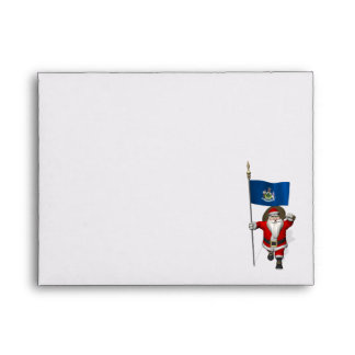 Santa Claus With Ensign Of Maine Envelope