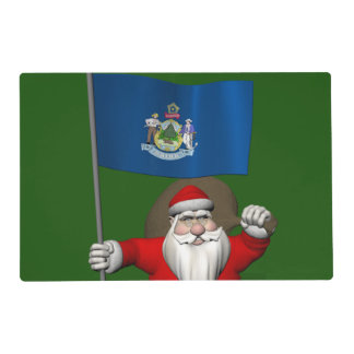 Santa Claus With Ensign Of Maine Laminated Place Mat