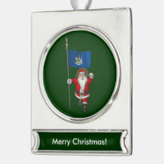 Santa Claus With Ensign Of Maine Silver Plated Banner Ornament at Zazzle
