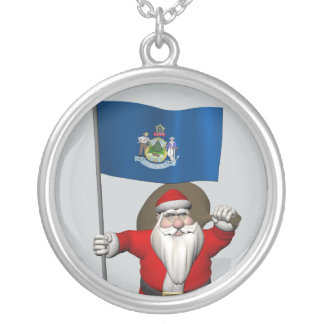 Santa Claus With Ensign Of Maine Silver Plated Necklace