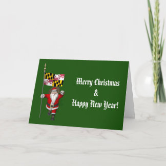 Santa Claus With Ensign Of Maryland Holiday Card