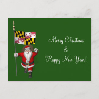Santa Claus With Ensign Of Maryland Holiday Postcard