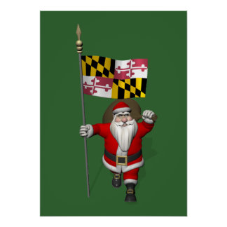 Santa Claus With Ensign Of Maryland Poster