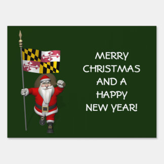 Santa Claus With Ensign Of Maryland Sign