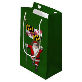 Santa Claus With Ensign Of Maryland Small Gift Bag