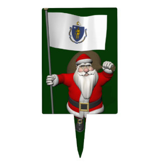 Santa Claus With Ensign Of Massachusetts Cake Pick