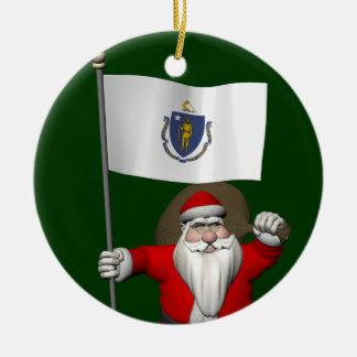 Santa Claus With Ensign Of Massachusetts Ceramic Ornament