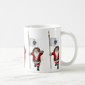 Santa Claus With Ensign Of Massachusetts Coffee Mug