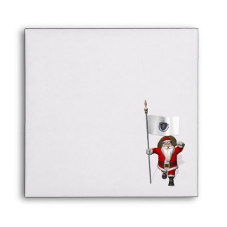 Santa Claus With Ensign Of Massachusetts Envelope