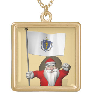 Santa Claus With Ensign Of Massachusetts Gold Plated Necklace