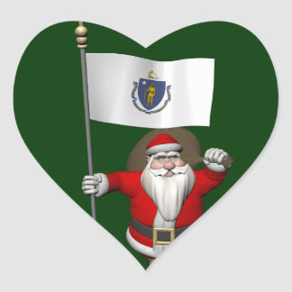 Santa Claus With Ensign Of Massachusetts Heart Sticker