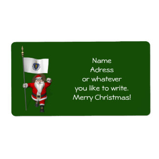 Santa Claus With Ensign Of Massachusetts Label