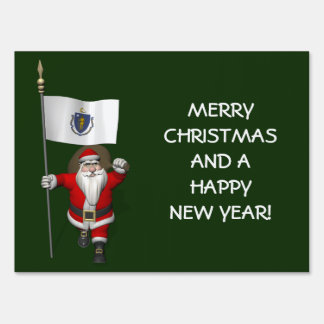 Santa Claus With Ensign Of Massachusetts Lawn Sign
