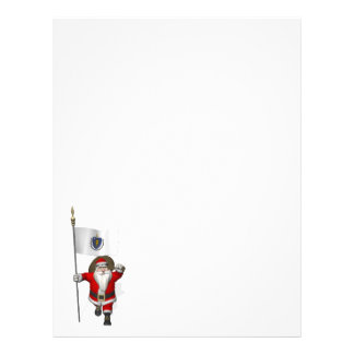 Santa Claus With Ensign Of Massachusetts Letterhead