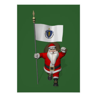 Santa Claus With Ensign Of Massachusetts Poster