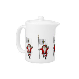 Santa Claus With Ensign Of Massachusetts Teapot