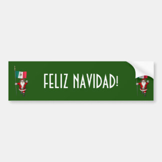 Santa Claus With Ensign Of Mexico Bumper Sticker