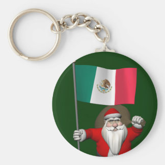 Santa Claus With Ensign Of Mexico Keychain