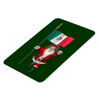 Santa Claus With Ensign Of Mexico Magnet