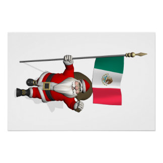 Santa Claus With Ensign Of Mexico Poster