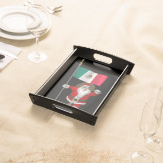 Santa Claus With Ensign Of Mexico Serving Tray