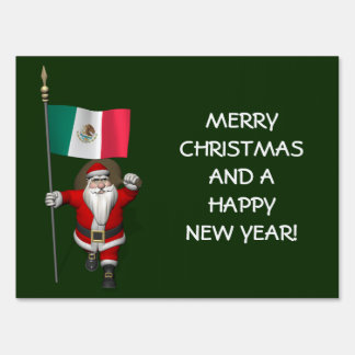 Santa Claus With Ensign Of Mexico Sign