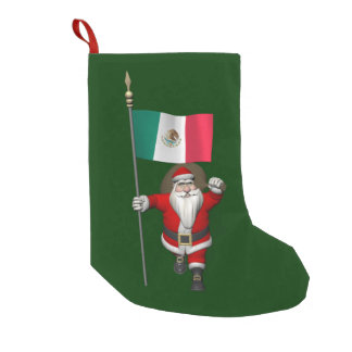 Santa Claus With Ensign Of Mexico Small Christmas Stocking