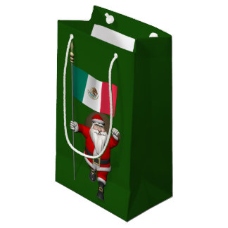 Santa Claus With Ensign Of Mexico Small Gift Bag