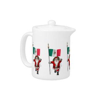 Santa Claus With Ensign Of Mexico Teapot