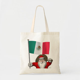 Santa Claus With Ensign Of Mexico Tote Bag