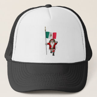 Santa Claus With Ensign Of Mexico Trucker Hat